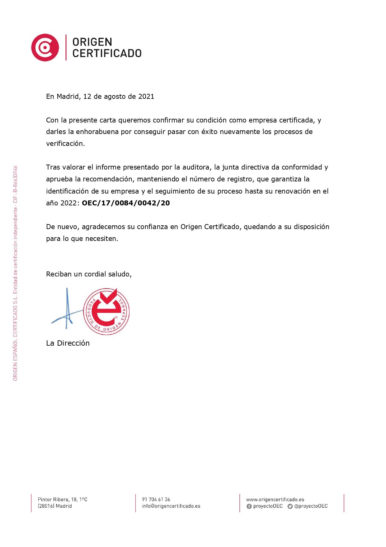 Certificado OEC de que Guiotarars Raimundo fabrica guitarras 100% en España